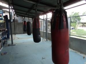 Bag area at Geatpondip Muay Thai Gym