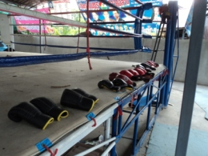 Gloves used at Geatpondip Muay Thai Gym